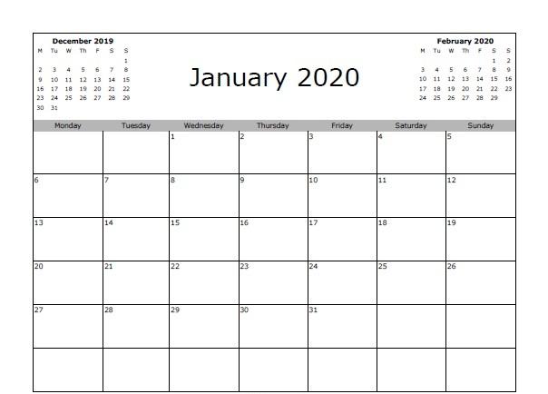 January 2020 Calendar Templates