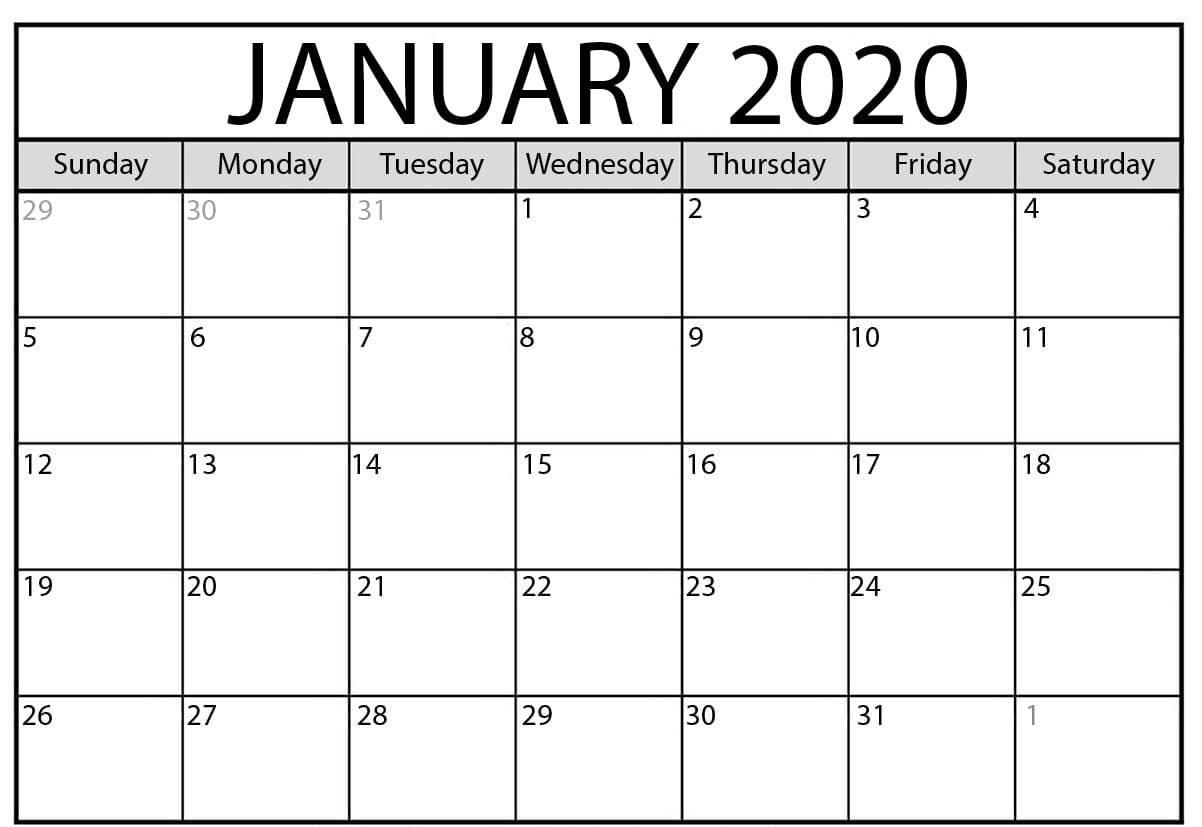 January 2020 Calendar Xls