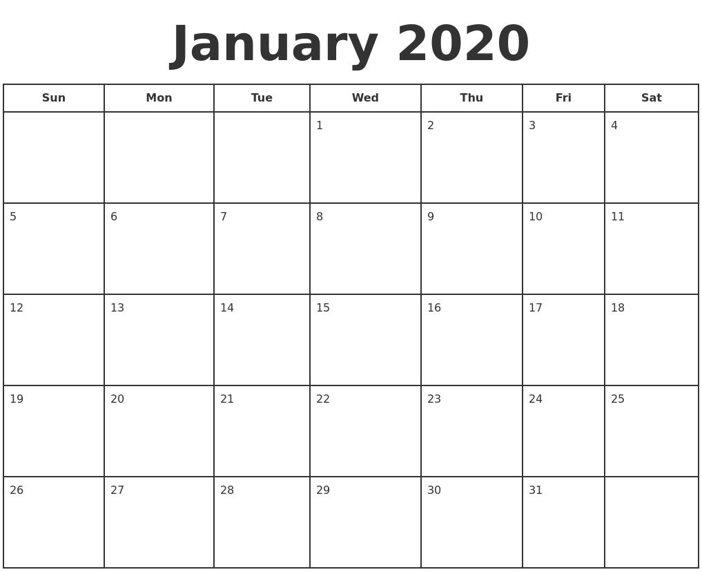 January Calendar 2020 Excel