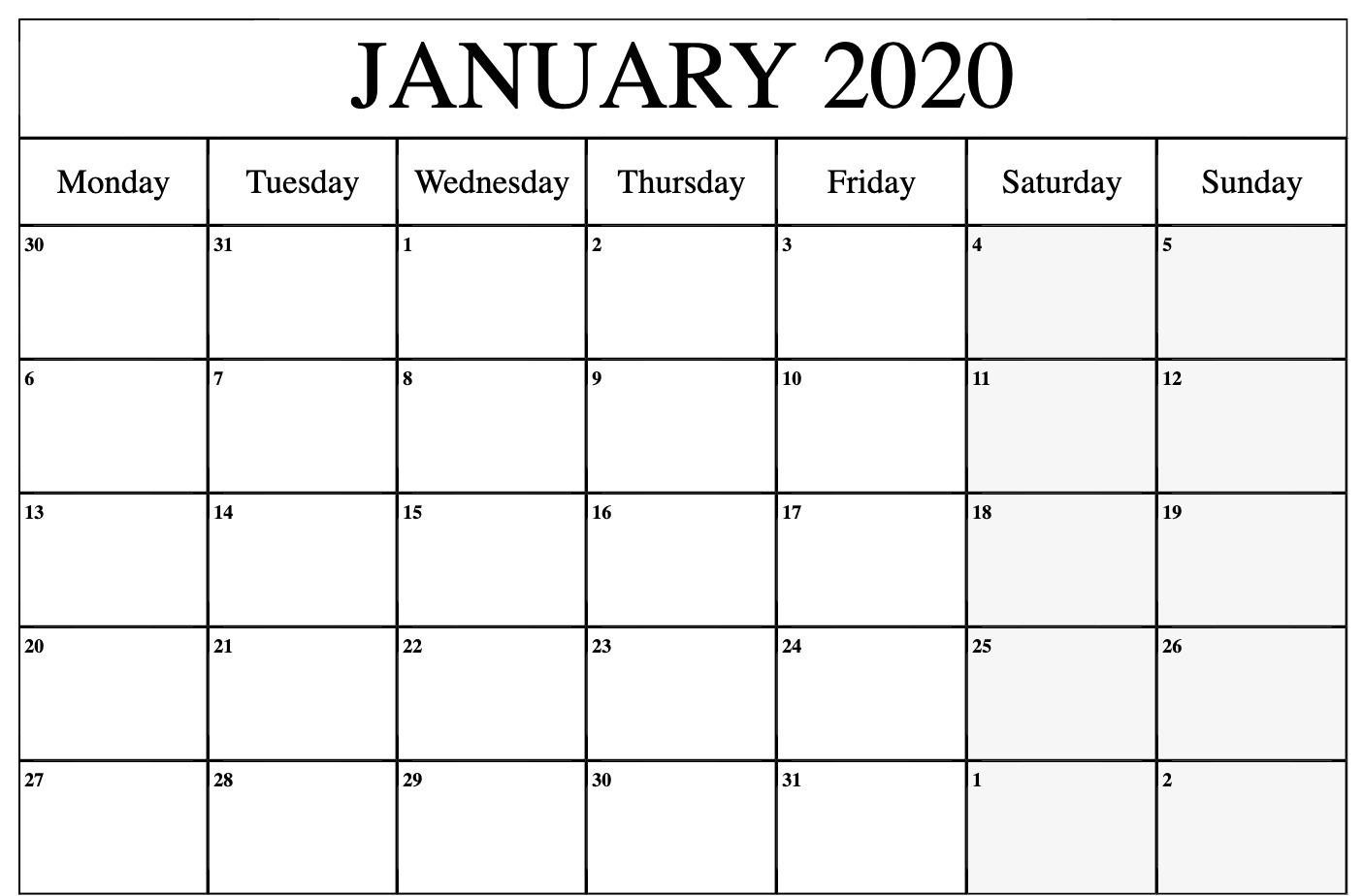 January Calendar 2020 PDF