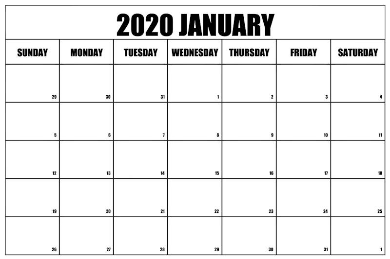 January Calendar 2020 Portrait