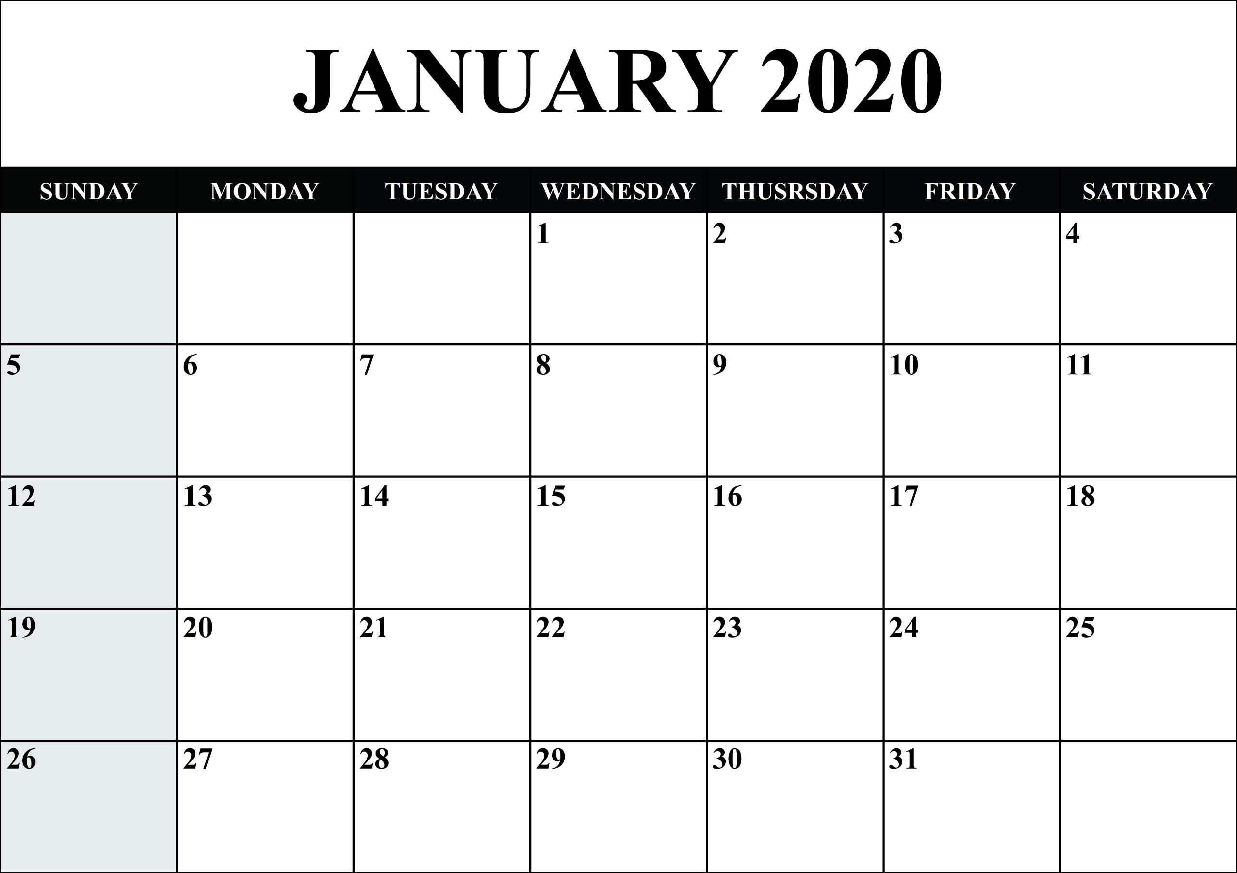 January Calendar 2020 Word