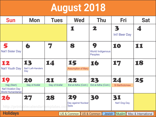 2018 August Calendar Holidays Printable