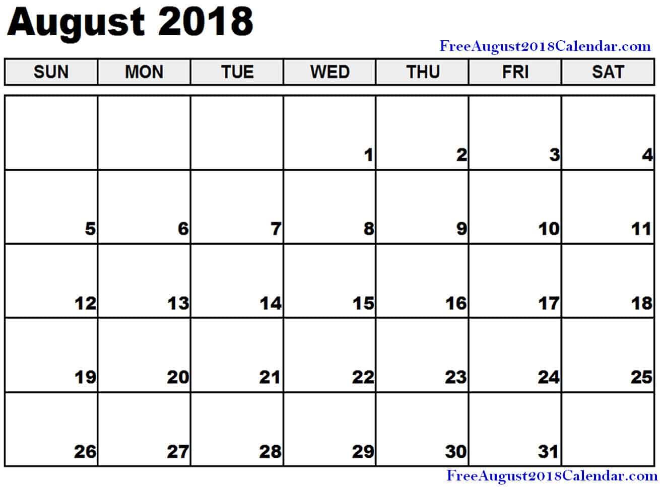 2018 August Calendar Template