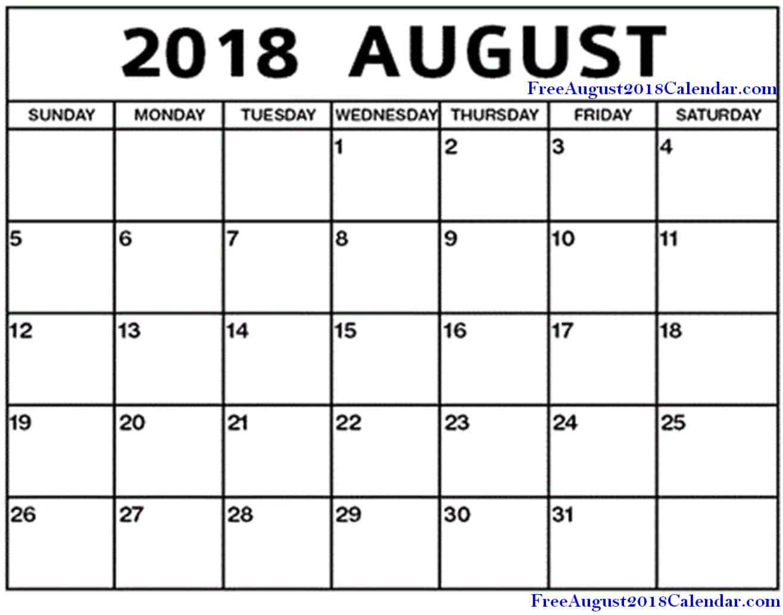 August 2018 Calendar Blank Printable