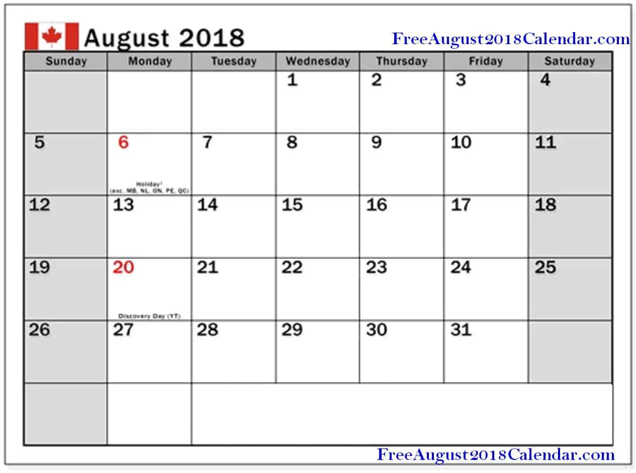 August 2018 Calendar Canada