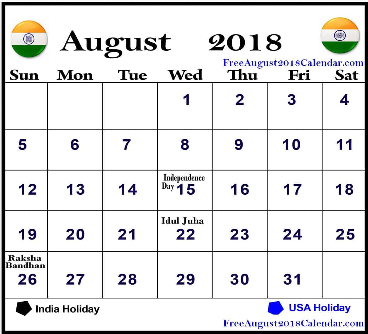 august 2018 calendar malaysia august 2018 calendar india