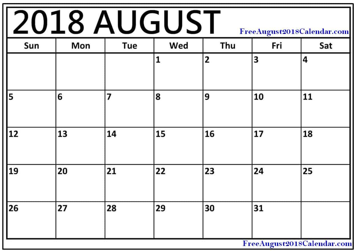 August 2018 Calendar PDF