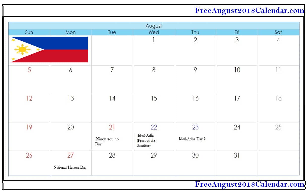 August 2019 Calendar With Holidays.August 2018 Calendar Philippines Free August 2019 Calendar