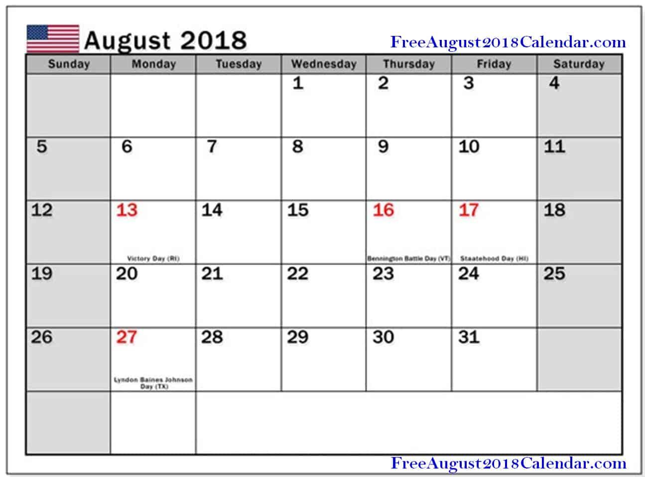 August 2018 Calendar USA