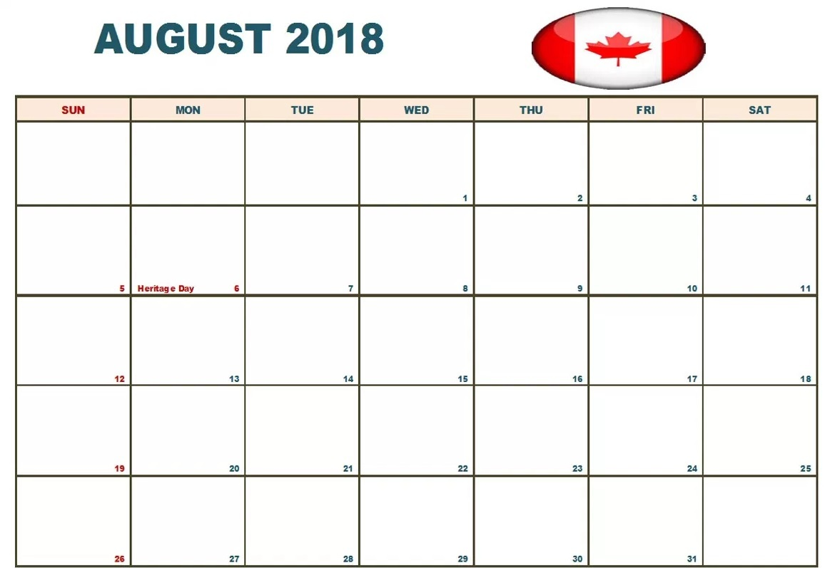August 2018 Calendar With Holidays Canada