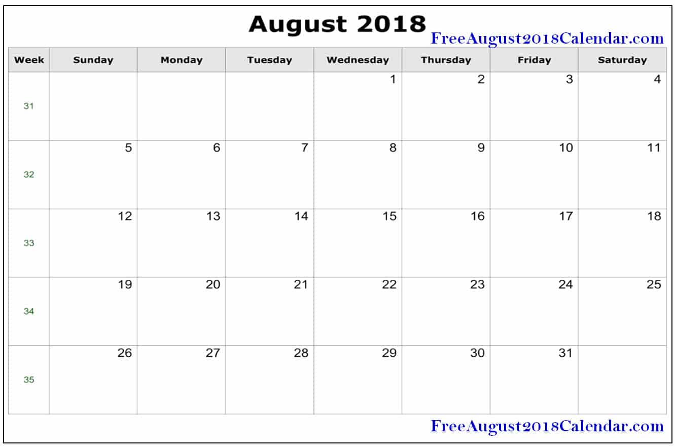 August 2018 Calendar Word Document