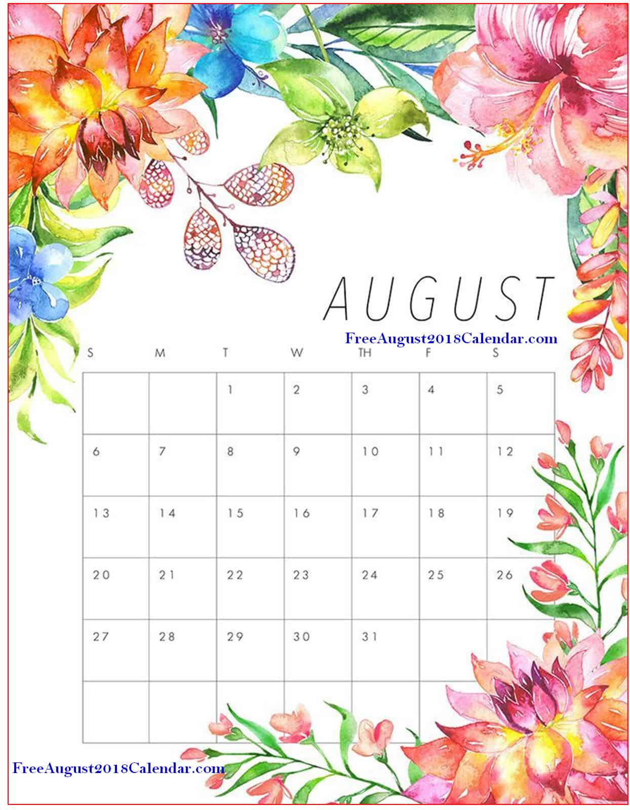 Best 15 Cute August 2018 Calendar Floral Wall Pink Designs