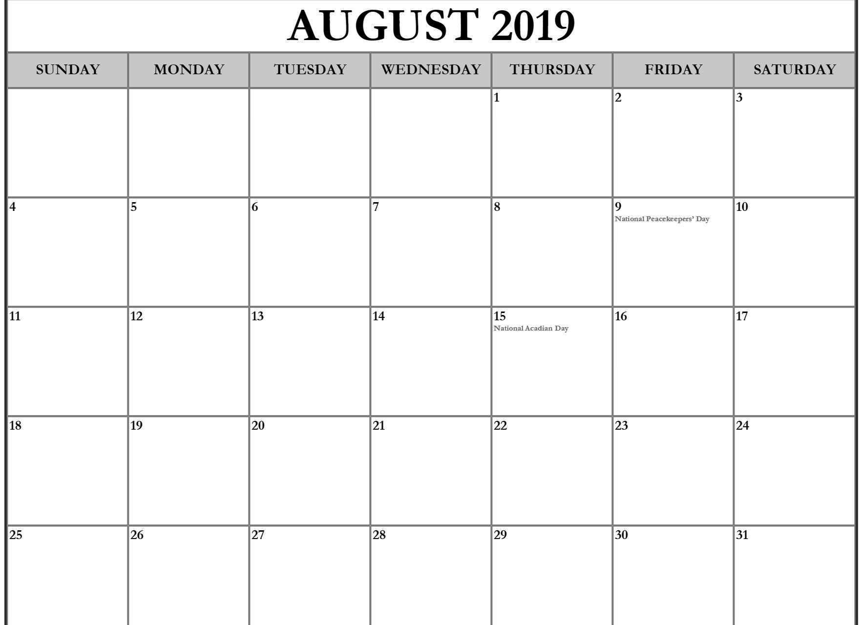August 2019 Calendar Canada