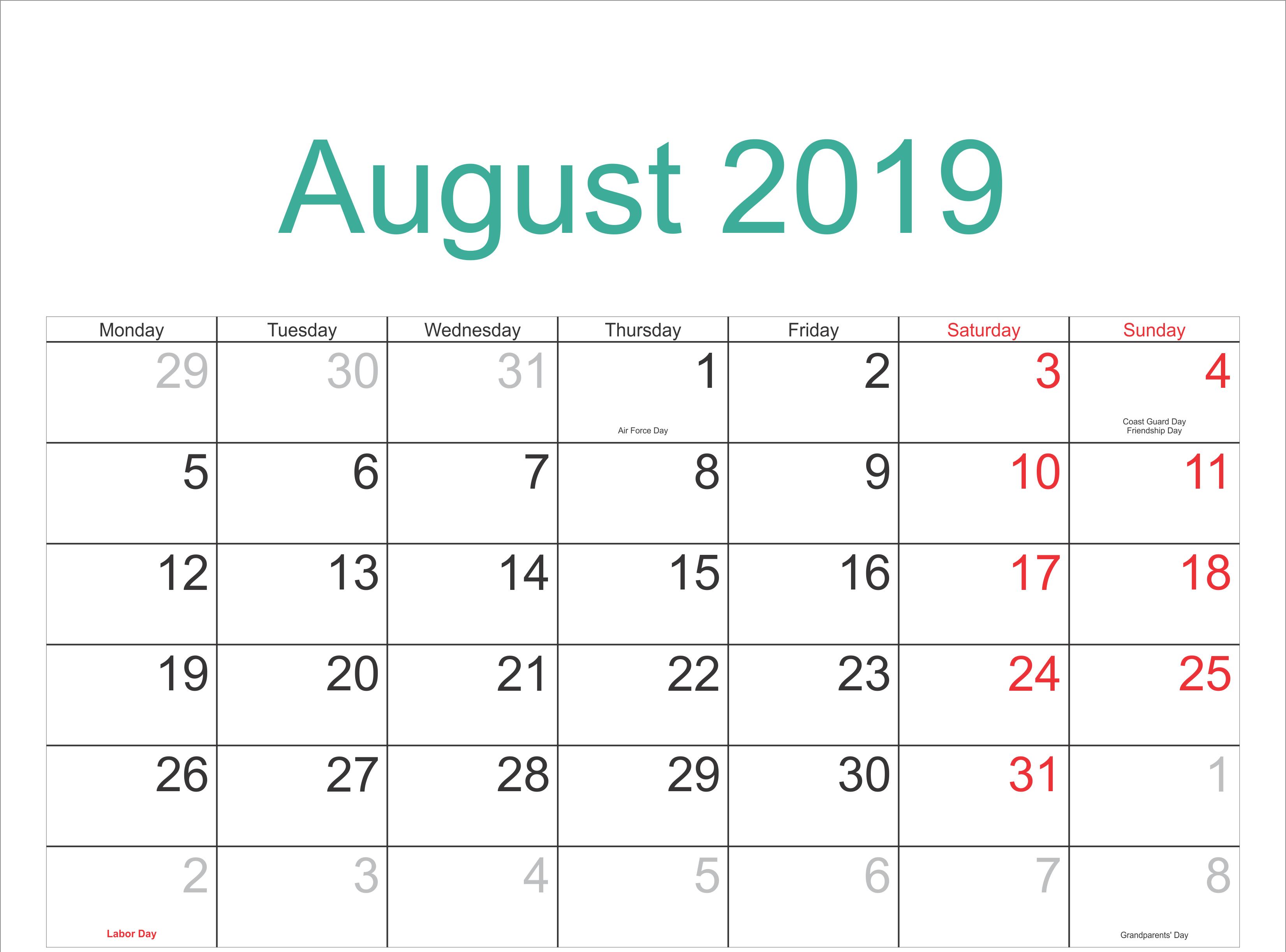 August 2019 Calendar US