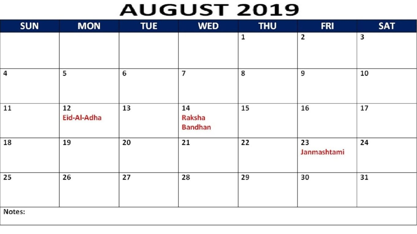 August 2019 Calendar With Holidays Printable