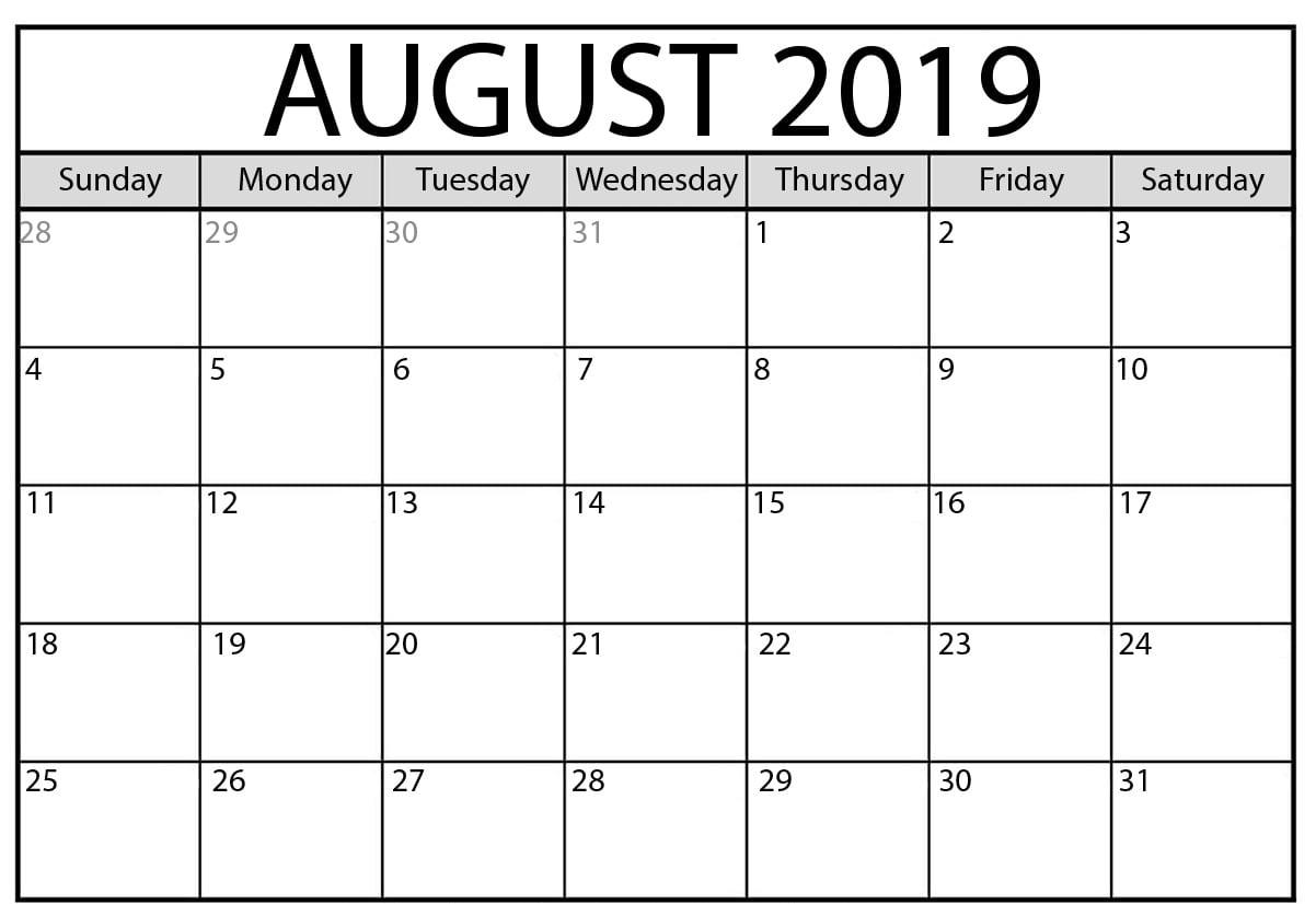 August 2019 Calendar Word