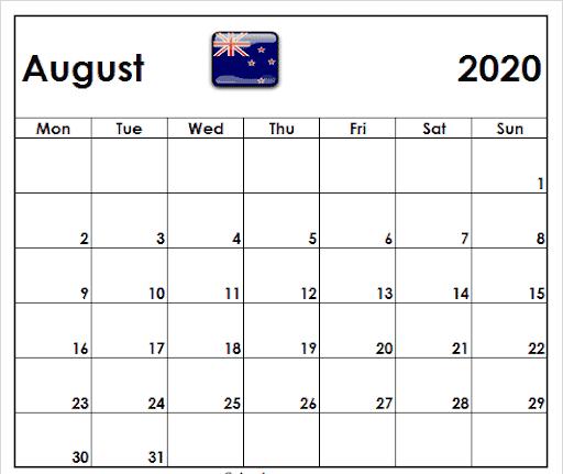 August 2020 Calendar NZ