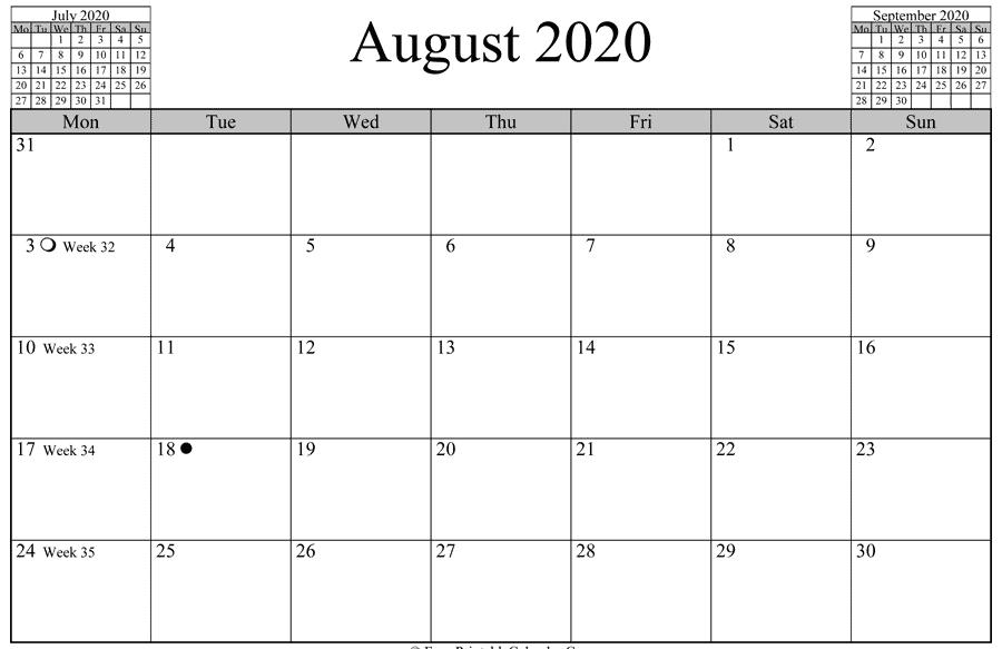August 2020 Calendar SA