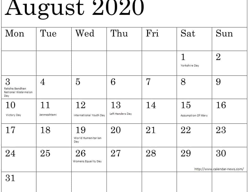 August 2020 Calendar With Bank Holidays