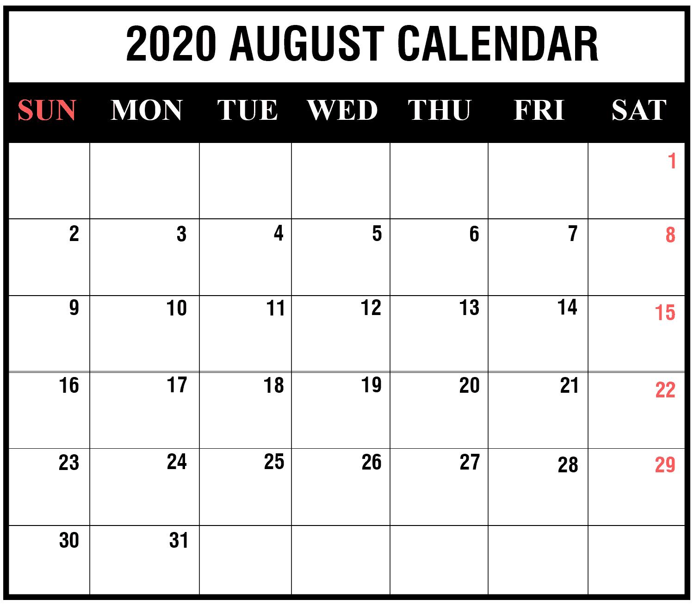 August 2020 Calendar with Holidays Australia