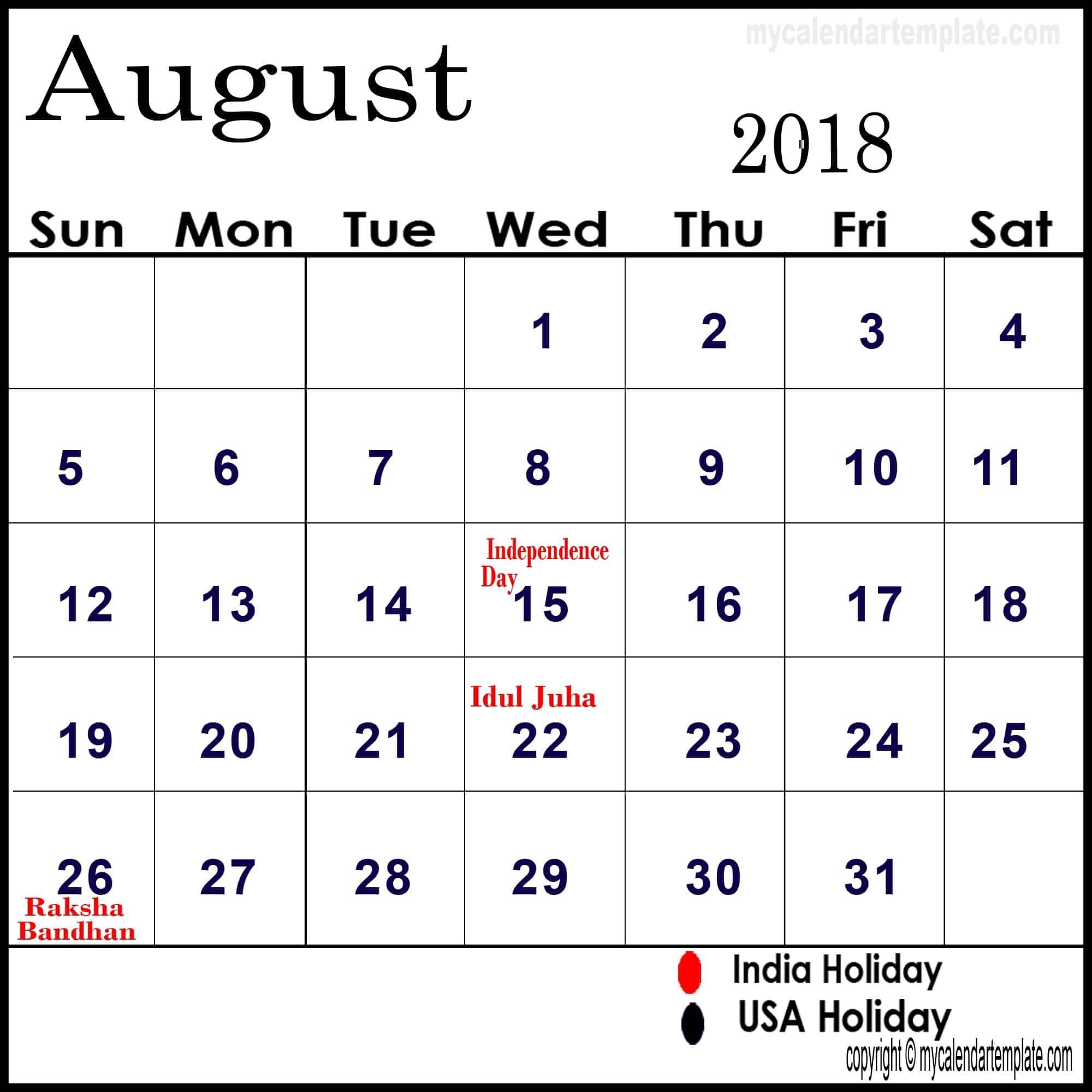 Holidays: August 2018 Calendar With Holidays Printable