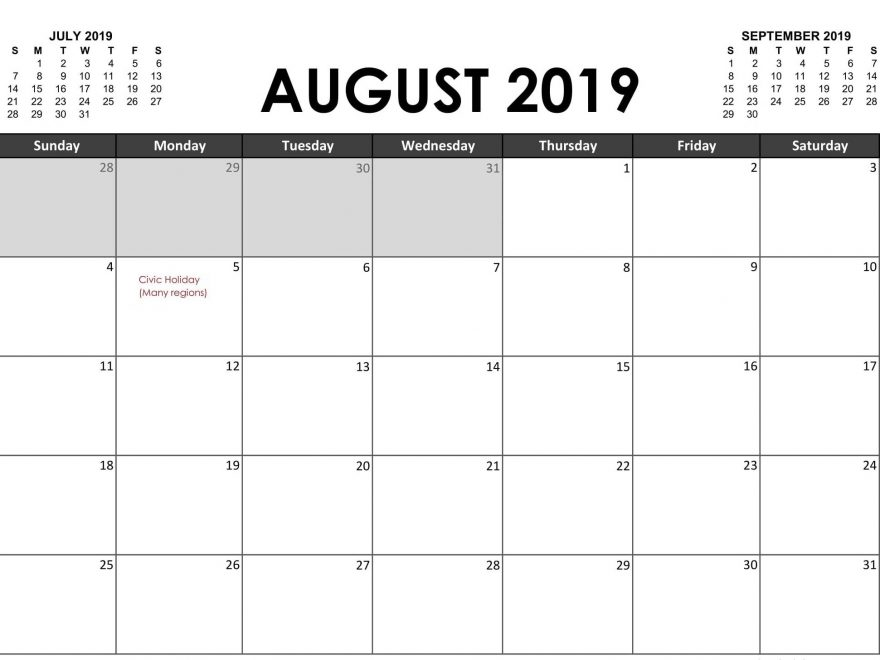 August Month Holidays Calendar 2019
