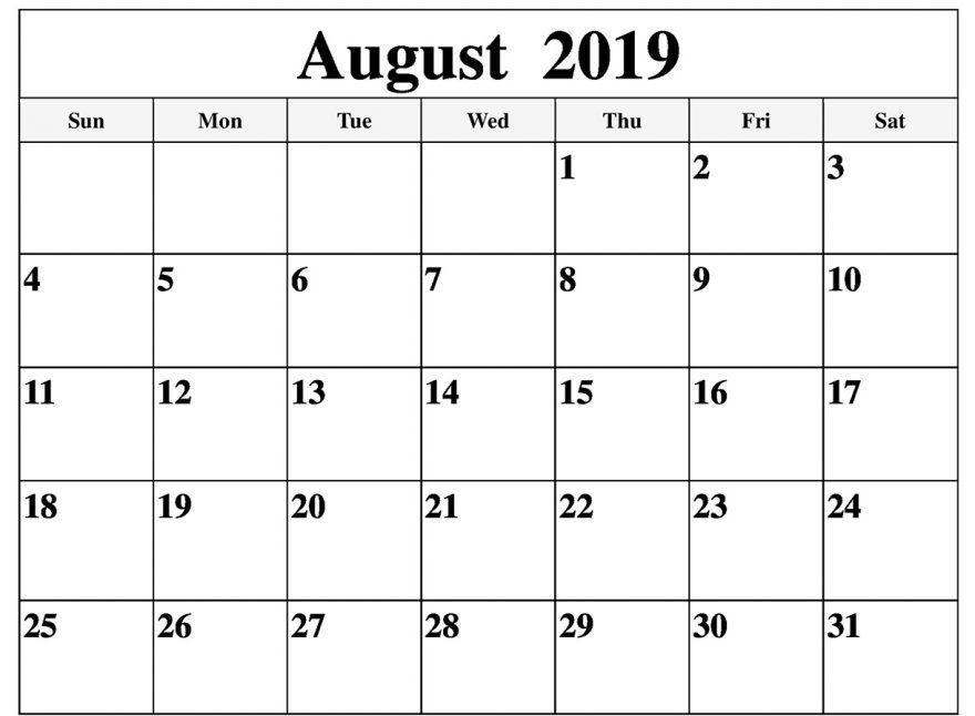 Blank August 2019 Calendar Monthly