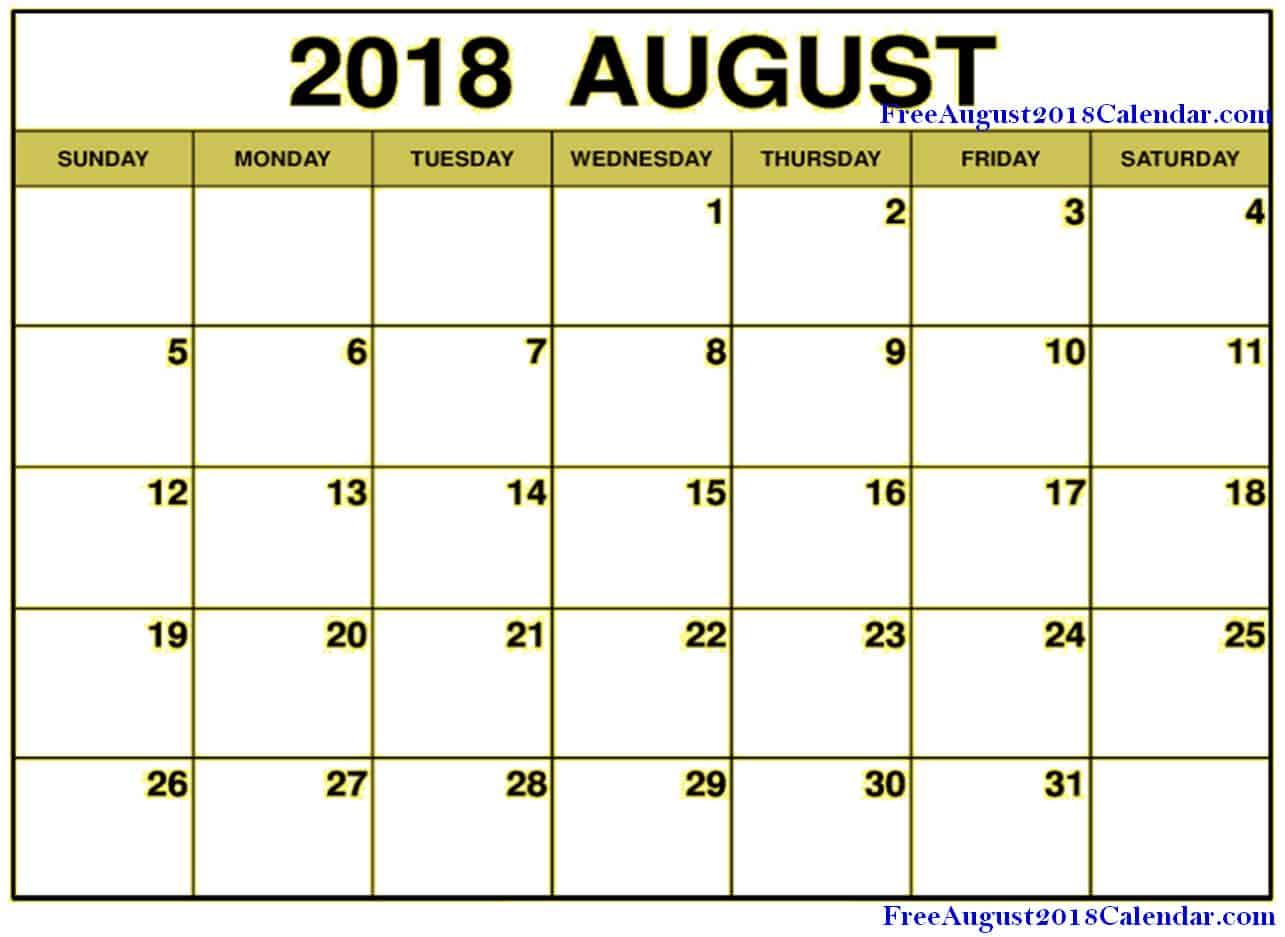 Blank August Calendar 2018 Editable