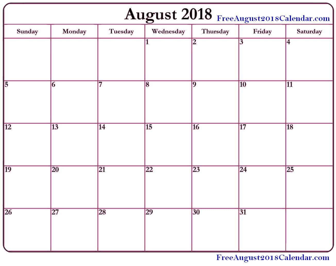 Calendar for August 2018 Template