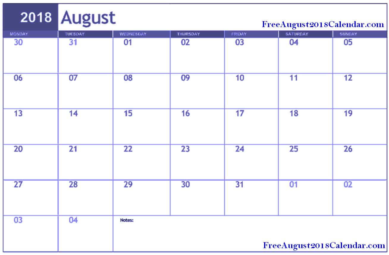 Calendar for August 2018 in Excel