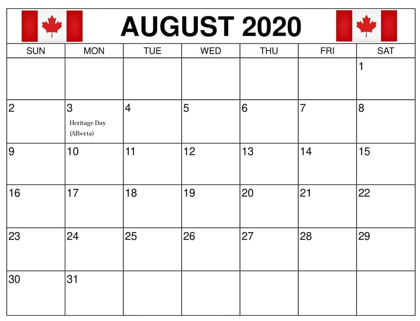 Canada Holidays Calendar August 2020