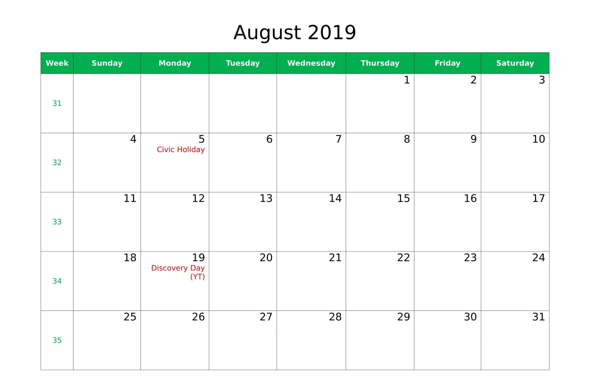 Canada Holidays of August 2019