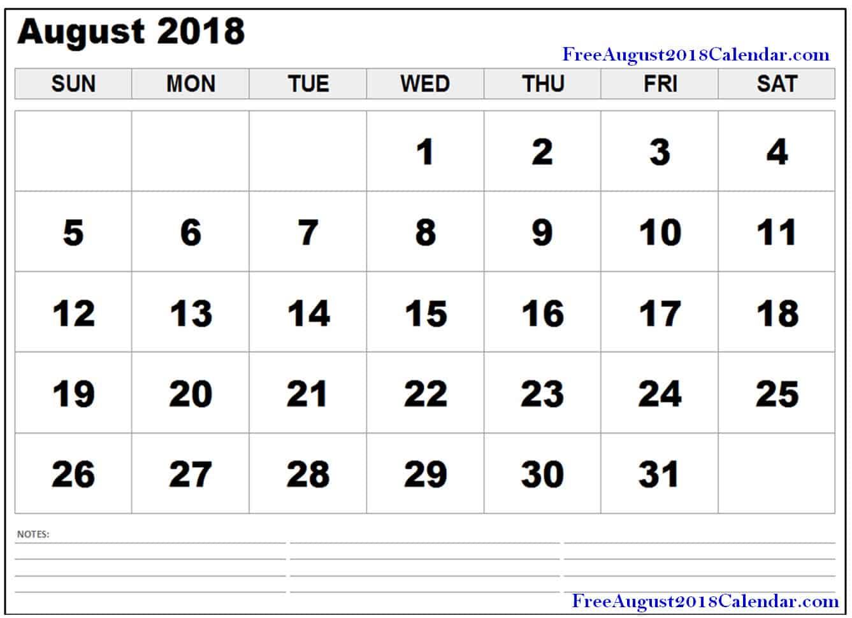 Free August 2018 PDF Printable Calendar