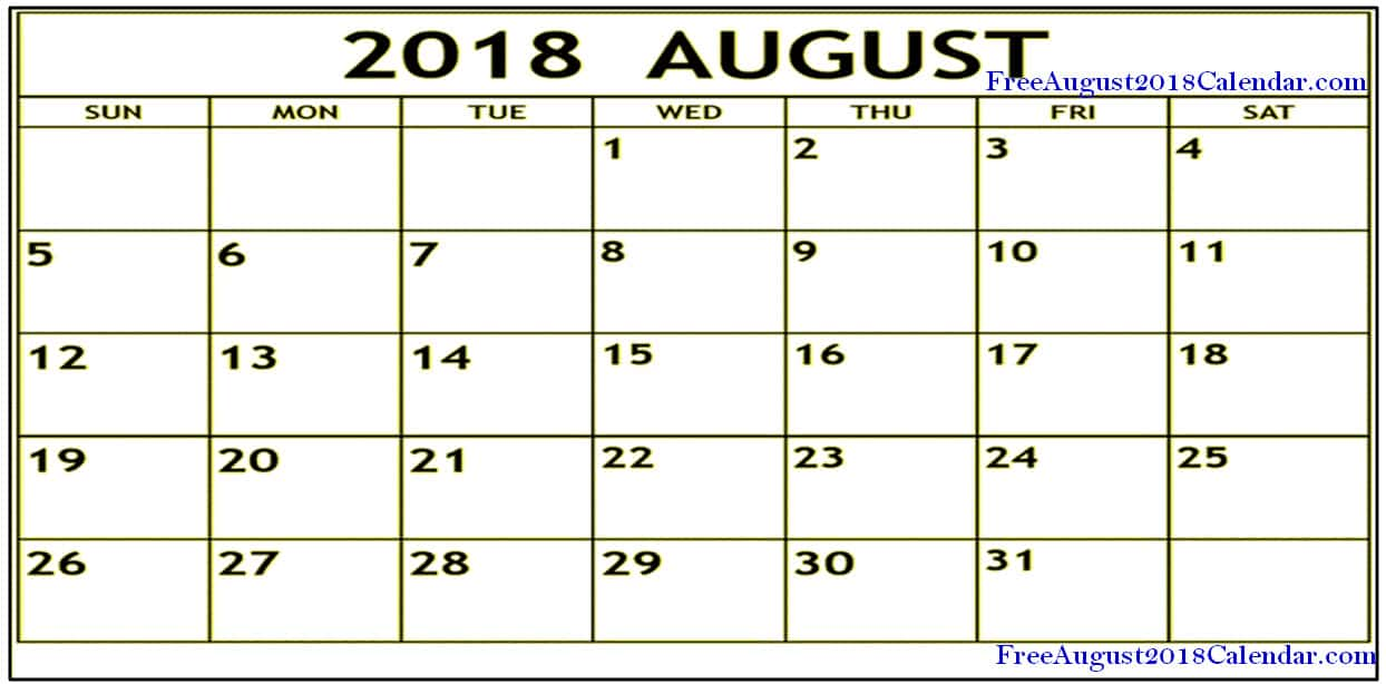 Free August Calendar 2018 Page