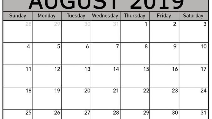 photo relating to Free August Calendar Printable named Cost-free August 2019 Calendar Template Editable Printable Obtain