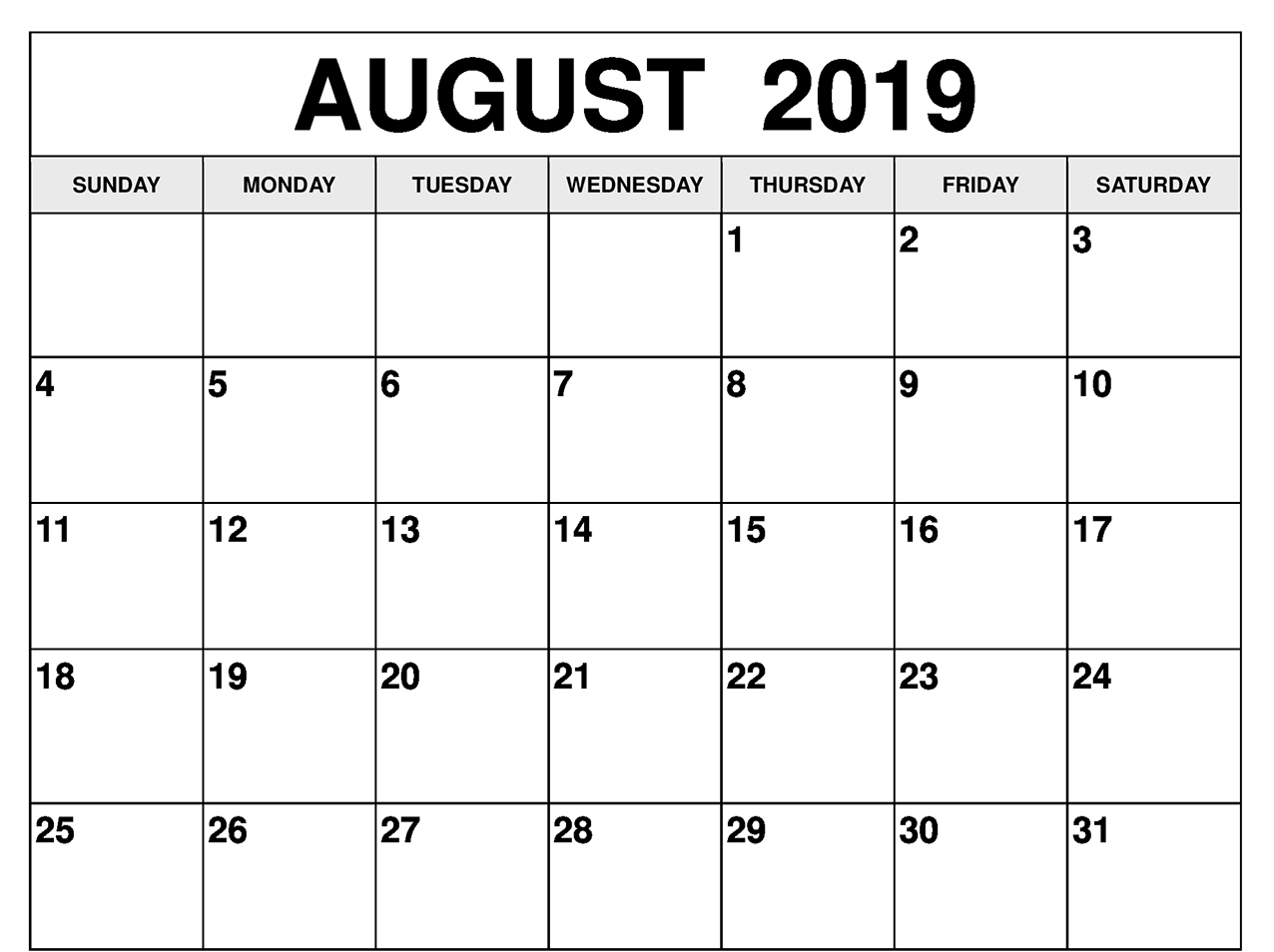 photograph about Free Printable Calendar August titled August 2019 Calendar Excel with Blank Printable Template