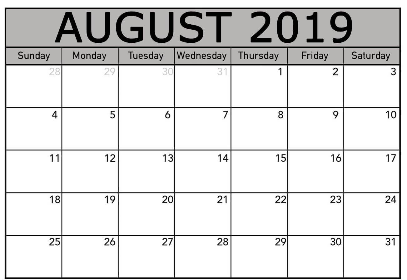 photo about Printable Monthly Calendar August identified as Cost-free August 2019 Calendar Template Editable Printable Down load