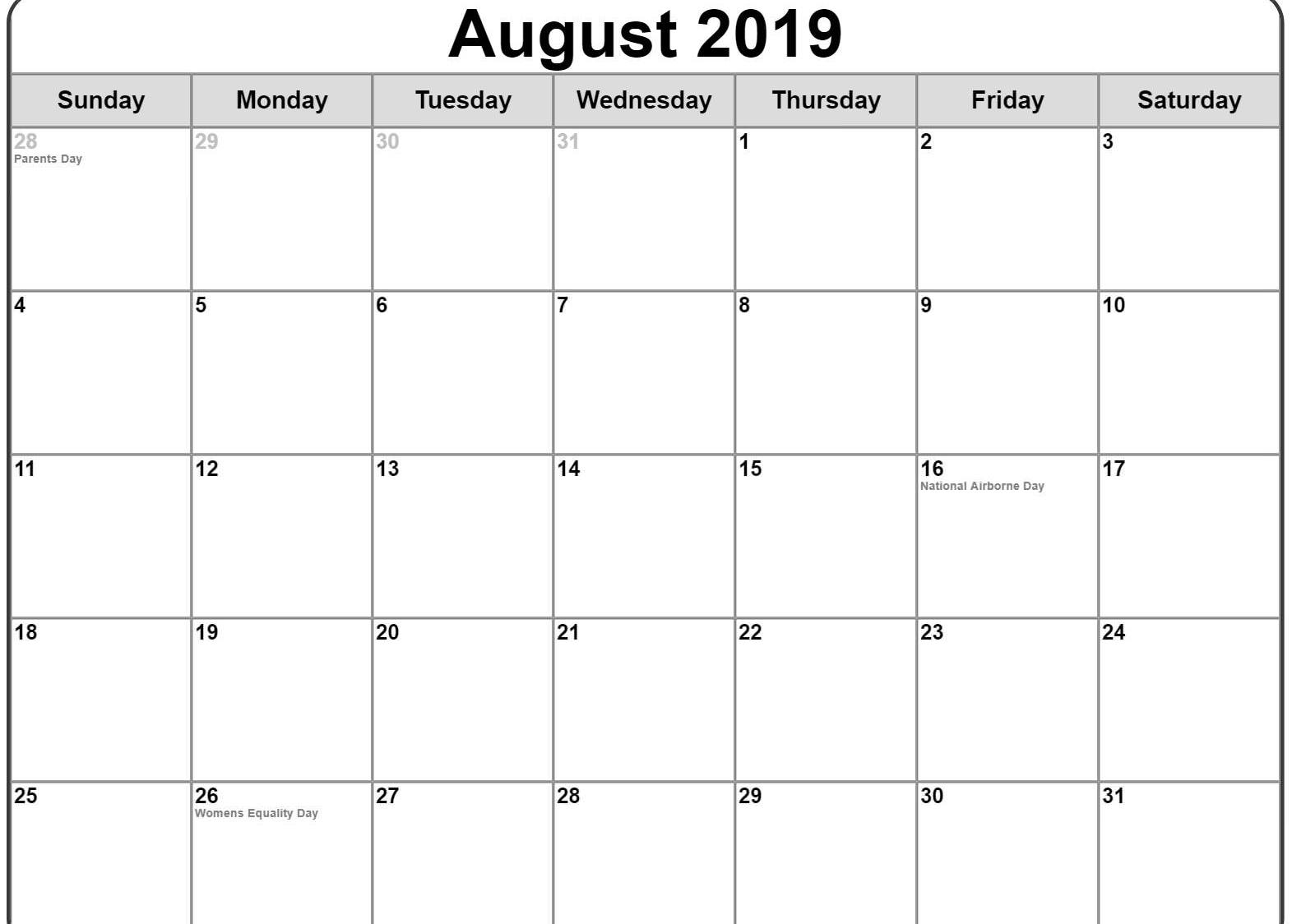 Holidays for USA of August 2019