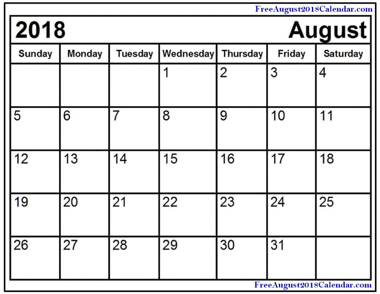 Printable 2018 August Calendar PDF