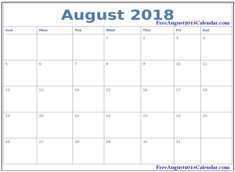 printable 2018 august calendar word