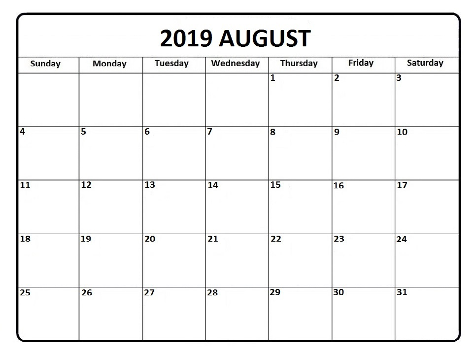 Printable August 2019 Fresh Calendar