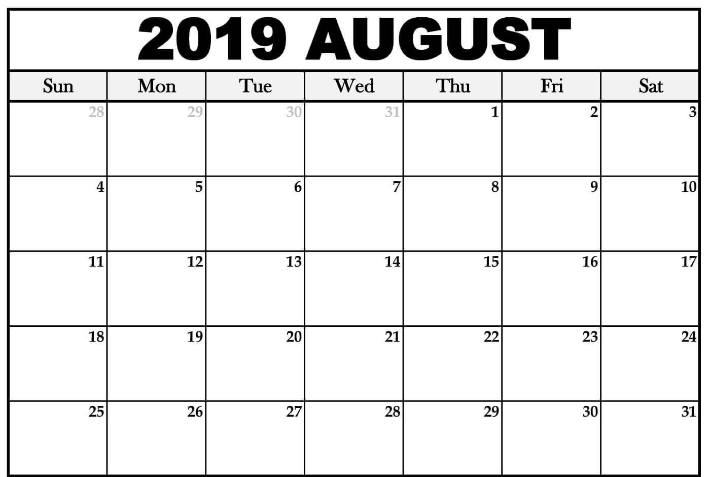 Printable August Calendar 2019