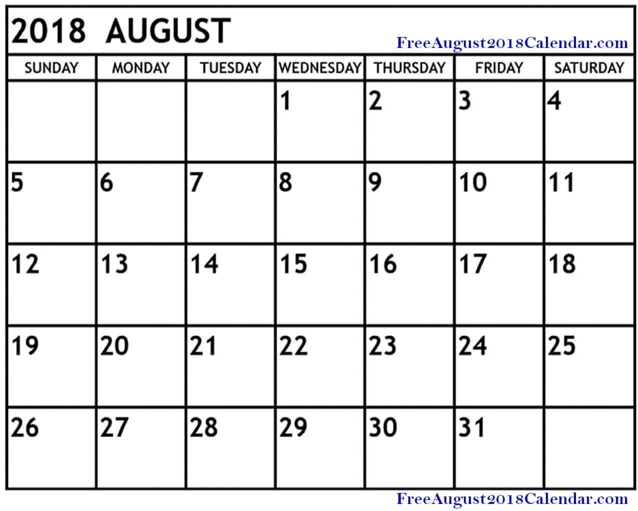 Printable Calendar for August 2018 Templates