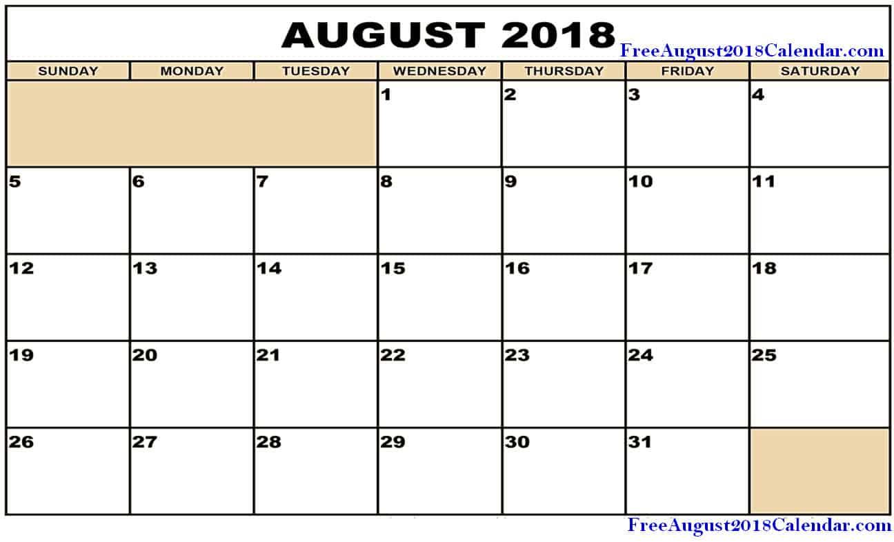 Printable Calendar for August 2018 Word