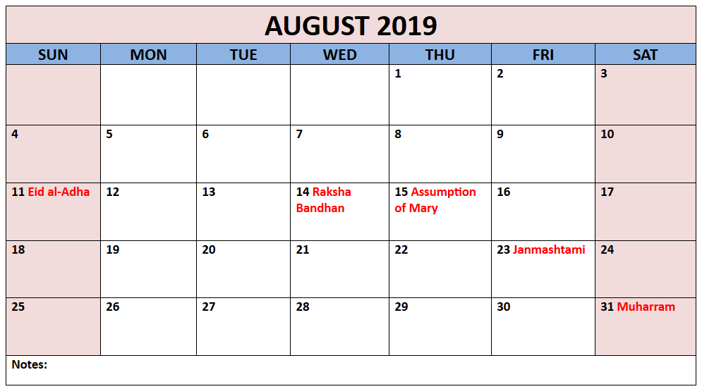 South Africa Calendar For August Month
