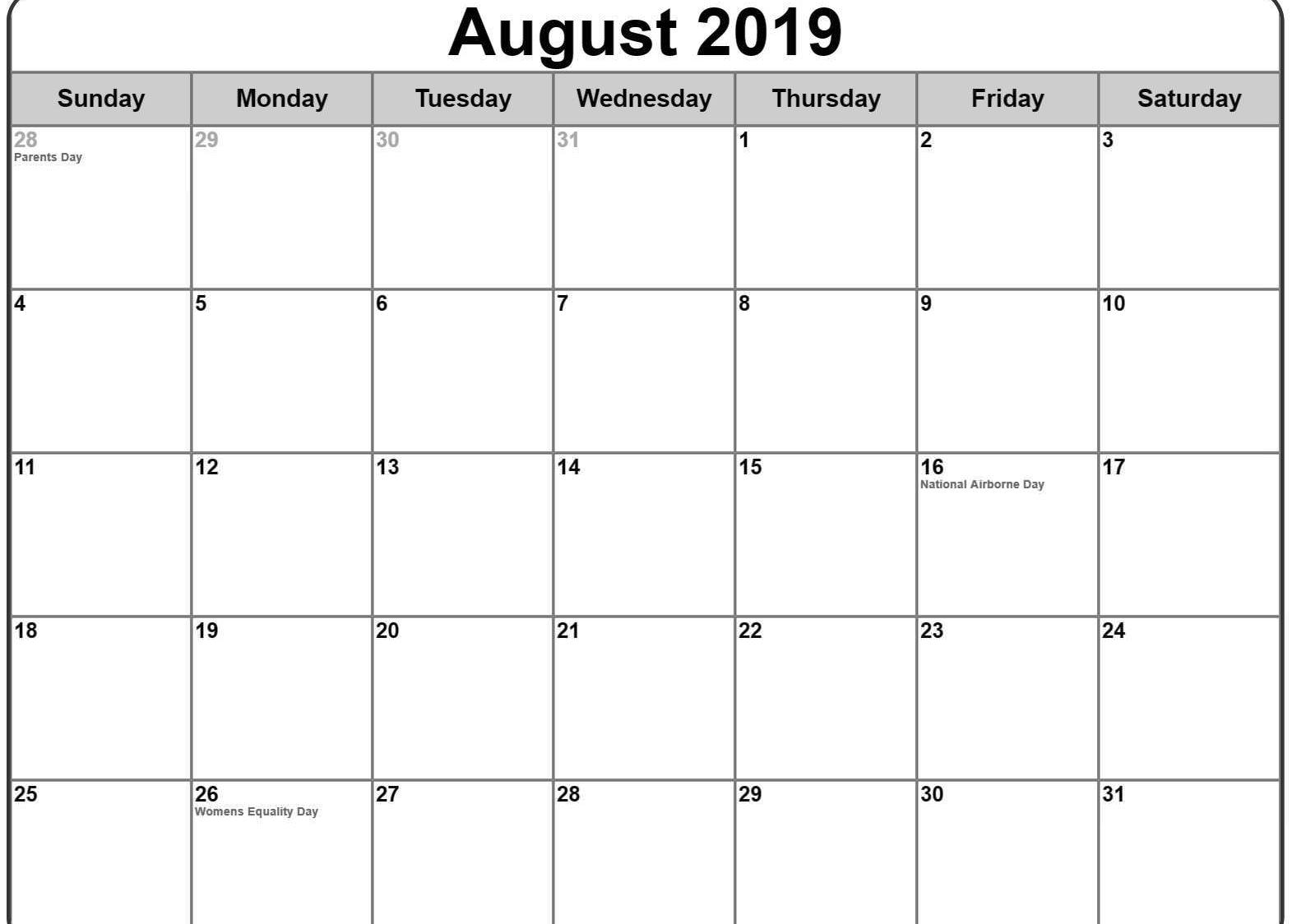 August 2019 Calendar US Holidays