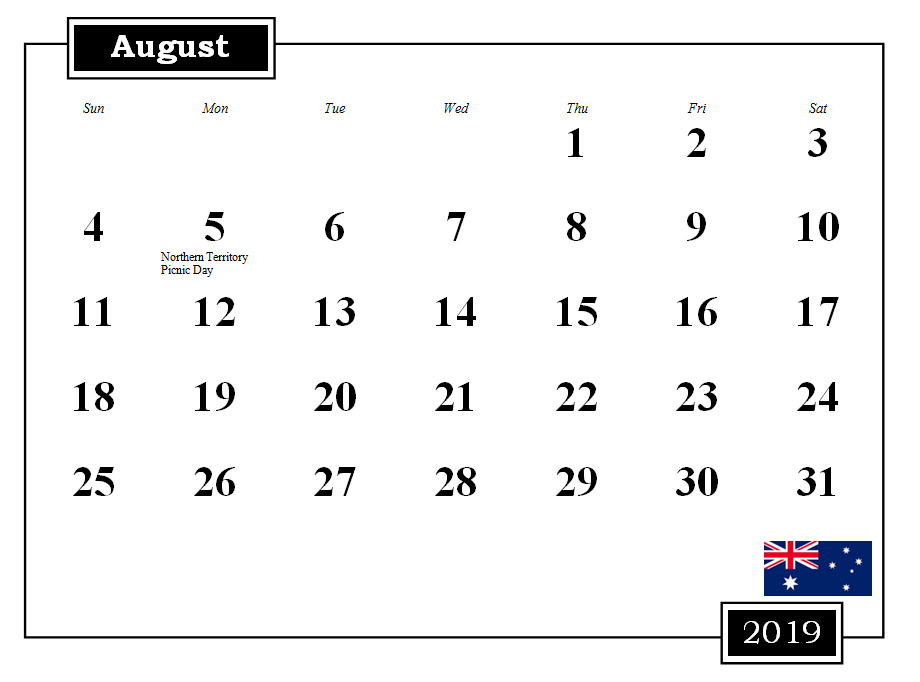 August 2019 Calendar with Holidays Australia