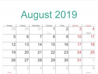 August 2019 Calendar with Holidays US