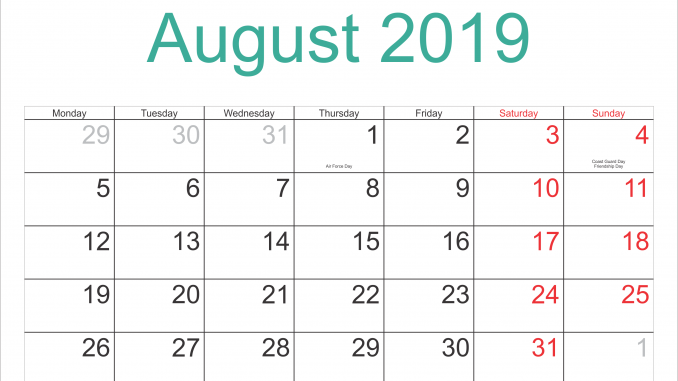 image about Printable August Calendar titled August 2019 Calendar with Vacations Printable